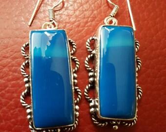 Blue Botswana Agate Earrings!