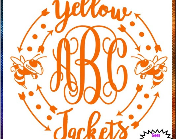 Yellow Jackets Monogram vinyl decal car tumbler cup decal personalized Script Frame Customized