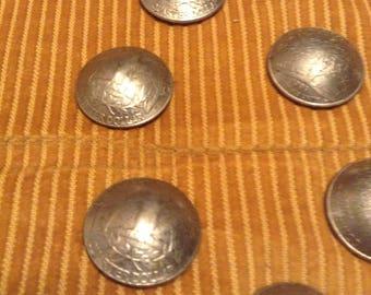 Authentic Quarter Dollar Buttons set of 10