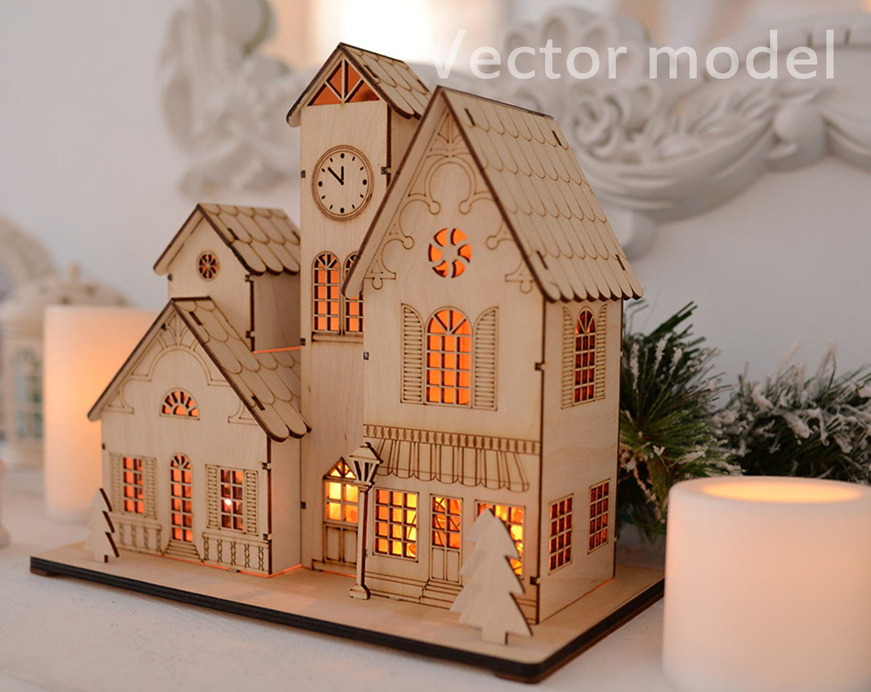 Souvenir House In European Style Drawing Laser Cut