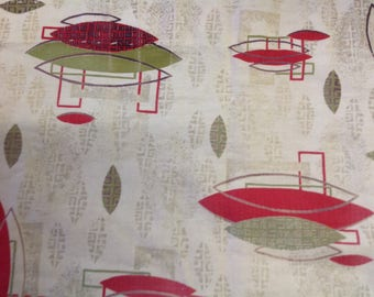 "Vintage Atomic Barkcloth Panel 34.5"" x 45"""