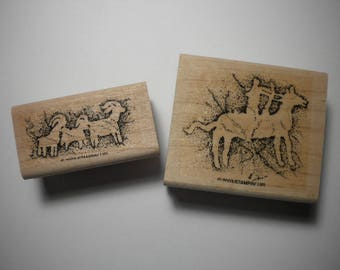 Rubber Craft Stamps - One pair of PREHISTORIC PAINTINGS, Stampin' Up, 2003 , pay it forward, PIF