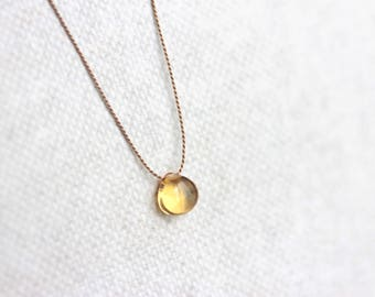 Tiny Citrine Gemstone Necklace, Silk Thread, Gold Filled, Sterling Silver, November Birthstone