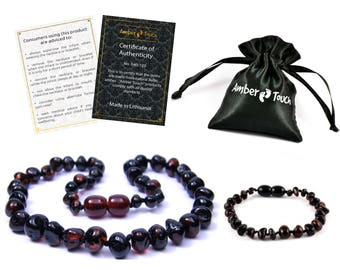 Baltic Amber Baby Teething Necklace and Bracelet