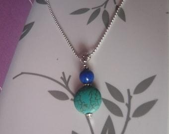 TURQUOISE gemstone pendant necklace & LAPIS LAZULI