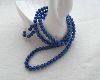 Royal Blue Glass Pearl Beads, 6mm (1610)
