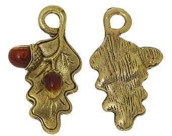 5 Antique Gold Tone Oak Leaf & Acorn Charms 23mm x 13mm  (B232d)