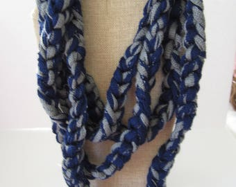 Scarf Necklace, Gray Scarf Necklace, Jeans Scarf, Gift Under 10, Gift for Coworker, Gift for Teacher, Unique Gift, Blue and Gray Scarf