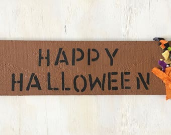 Painted Wood Plank Halloween Home Sign