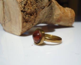 brass ring, amber, handicraft ring, handmade jewels, handmade ring