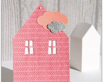 Cottage pink birth announcement