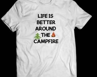 camping life shirt, white, camping shirt, tshirt
