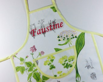 "Apron for girl personalized ""vegetables and herbs"""
