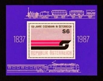 Austria Railway Train Eisenbahn 1987 Austrian Souvenir-Postage Stamp Sheet-Purple and Silver-Railroad 150th Anniversary-Craft Paper Ephemera