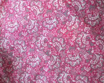 Pink Whimsical Burp Cloth Damask Nursery Girl Terry Cloth Paisley theme Baby Spills Feeding Baby Shower