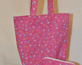Childrens fabric tote bag with coin purse.