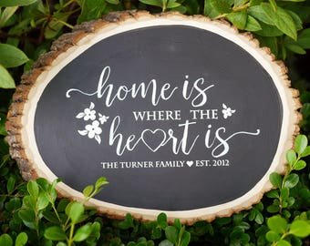 Custom Home is Where the Heart Is Wood Sign | Family Name on Wood | Family Est. Sign | Family Last Name | Wood Plaque | Rustic Home Decor
