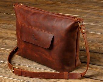 Leather satchel bag, Satchel bag leather, Light brown satchel, genuine leather satchel, zippered purse leather, leather zippered purse