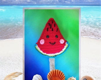 Wizzy Watermelonzz:Watermelon-Rattle-Crochet rattle pattern-Crochet watermelon pattern-Amigurumi rattle watermelon-PDF-English US pattern