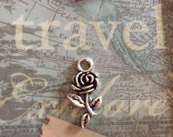 Lot of Six Antique Silver Tone Rose Charms....