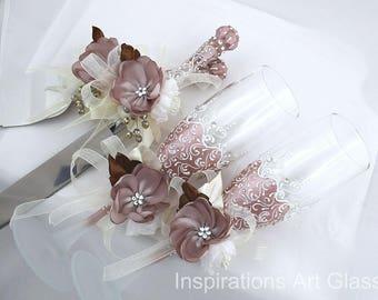 Wedding glasses set Blush pink Wedding set of 4 Wedding knife and cake server Hand painted Toasting Glasses Personalized Champagne Glasses