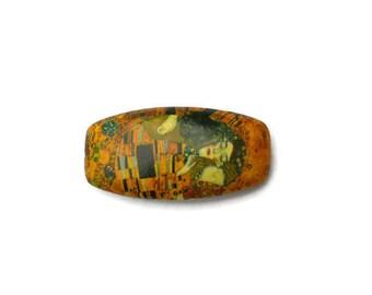 Hair Barrette Klimt, pin the kiss clip art, Klimt Barrette for left-handed, gift for her