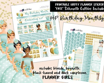 HP Birthday Monthly View Planner Stickers/ Happy Planner / Printable Planner Stickers / Digital / Cut Files / printables / all Planner Girls