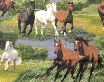 """Running horses novelty fabric, By the Half Yard, 44"""" wide, 100% cotton   horse fabric   animal fabric   equestrian fabric"""