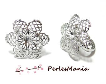 2 ring platinum silver thin ring ID31897 3D flowers