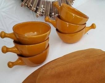 6 Vintage Pottery ramekins - mustard yellow/orange-Free Post