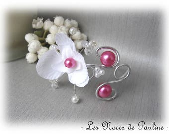 White wedding bracelet and fuschia Crystal Orchid Anais