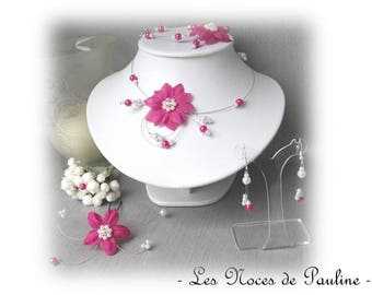 Set wedding white flowers fuchsia silk 10 pieces Eva ceremony