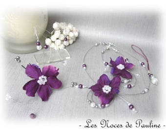Gray white purple wedding flowers 10pcs Eva set