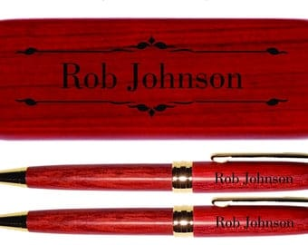 Dayspring Pens - Engraved Deluxe Rosewood Pen and Pencil Gift Set - Personalized Gift Free USA Shipping