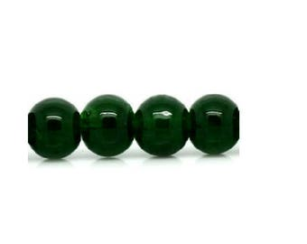 set of 50 dark green 6 mm glass beads