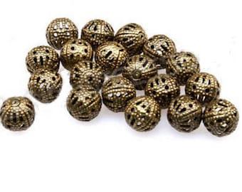 set of 20 filigree openwork beads bronze 8 mm