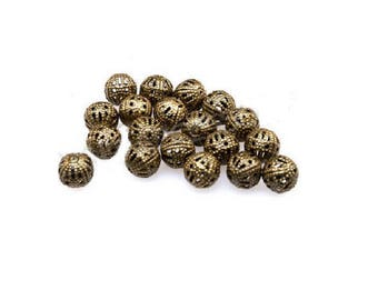 set of 50 filigree openwork beads bronze 6 mm