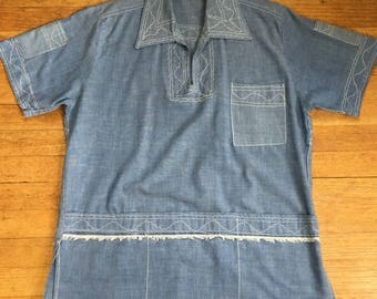 Awesome 70s denim shirt/ ethnic embroidery// many pockets// highly unusual