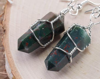 Polished BLOODSTONE Earrings - Silver Plated Wire Wrapped Earrings, Bloodstone Jewelry, Bloodstone Crystal Point, Healing Stone E0552