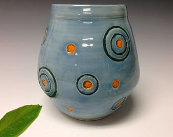 night sky vase, starry night vase, textured wheel thrown vase, flower vase, sky blue vase, rings of Saturn vase (1791)