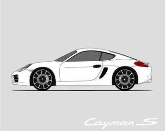 Porsche Cayman Poster // 981 Cayman // 982 Boxter // 2012 2013 2014 2015 2016 Cayman // Porsche Poster // Porsche Print