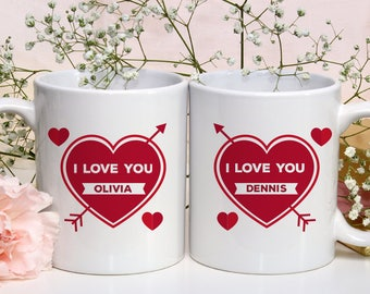 Valentine Day's I Love You Mug With Name of Recipient Printed On It