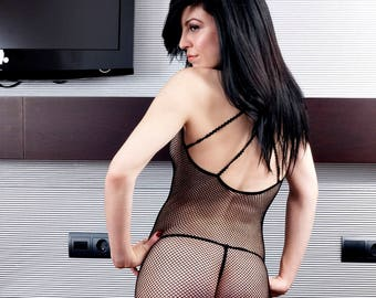Black Mesh Fishnet Sleepwear Body Stocking