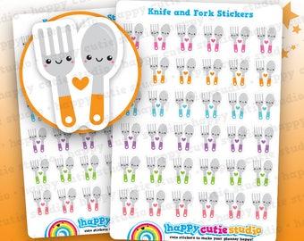 36 Cute Knife and Fork/Meal Prep/Cutlery Stickers, Filofax, Erin Condren, Happy Planner, Kawaii, Cute Sticker, UK