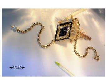 Wedding jewelry, Geometric Bracelet, Woven Seed Bead Bracelet, Miyuki, Delica Bracelet, Black, Gold, Silver Bracelet, Gift for Her