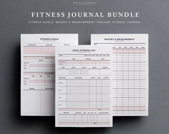 Fitness Journal Bundle Sale (Save up to 7usd!) - Fitness Journal, Fitness Goals, Weight & Measurement Tracker | Fitness Planner Bundle