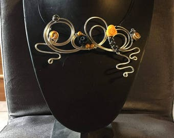 Black and yellow wedding jewelry set