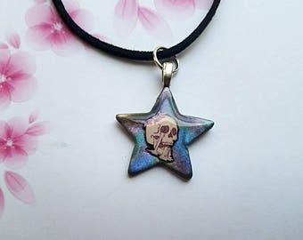 Small Rainbow Pastel Goth Skull Star Necklace Pendant