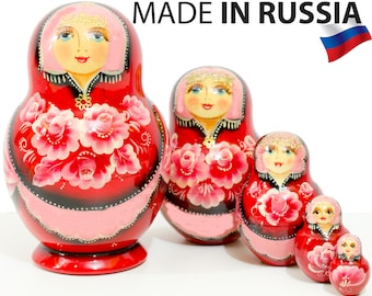 """Nesting Doll - """"Anastasia"""" - 5 dolls in 1 - MEDIUM SIZE - Red Color - Hand-painted in Russia"""