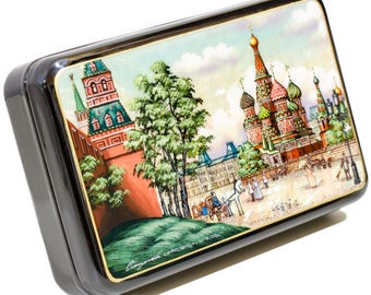 "Russian Fedoskino Lacquer Box - MEDIUM SIZE - ""Red Square at Moscow at XIXth century."" - Hand Painted in Russia - Collectible Art Quality"